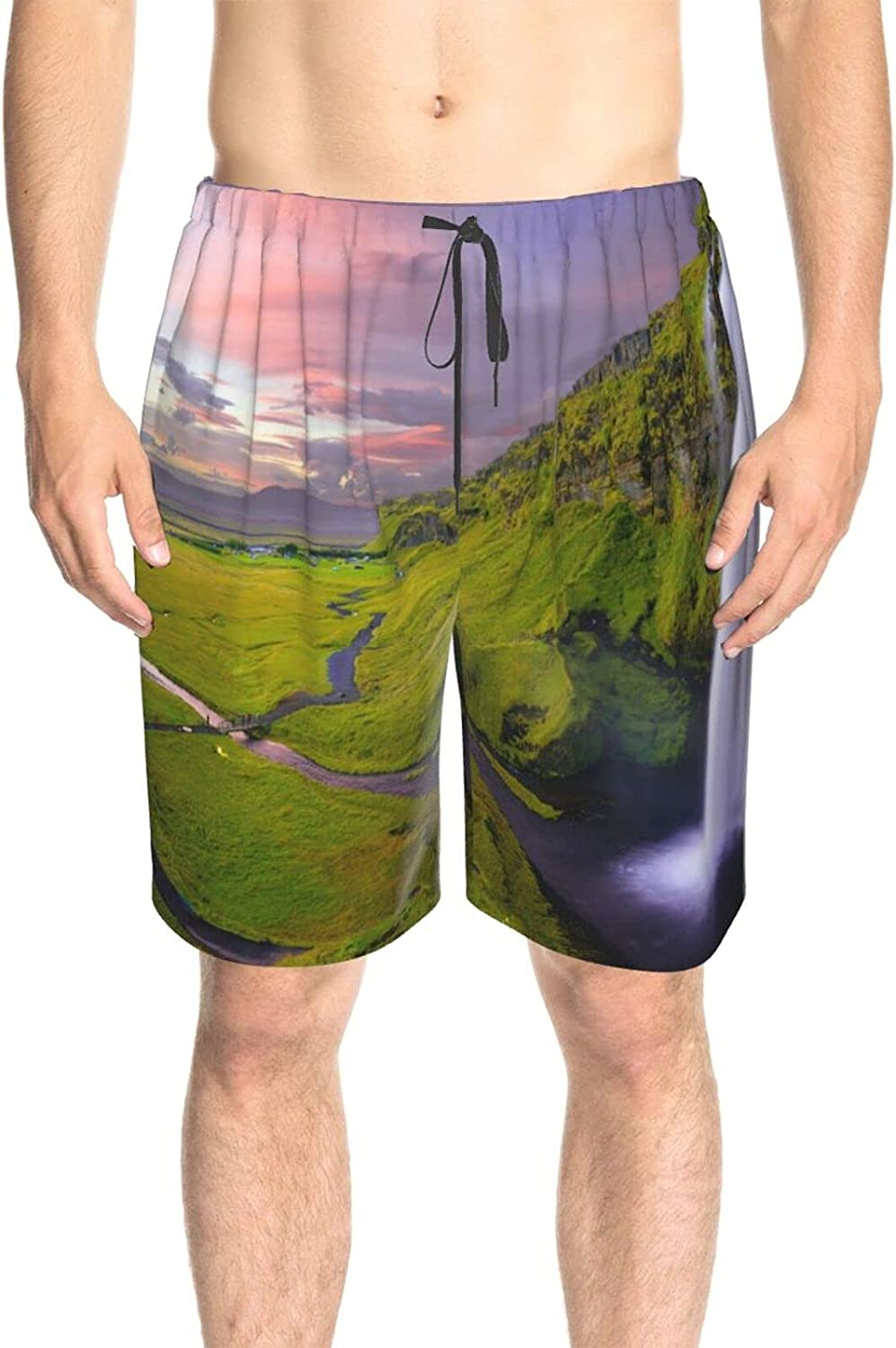 JINJUELS Men's Swim Shorts Waterfall Landscape Beach Board Shorts Quick Dry Comfy Swimwear Bathing Suits with Lining