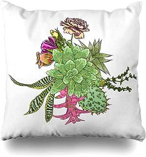 Ahawoso Throw Pillow Cover Square 20x20 Blue Border Green Succulent Bouquet Ikebana Spring Tattoo Nature Assortment Watercolor Botanical Bunch Design Home Decor Cushion Case Pillowcase