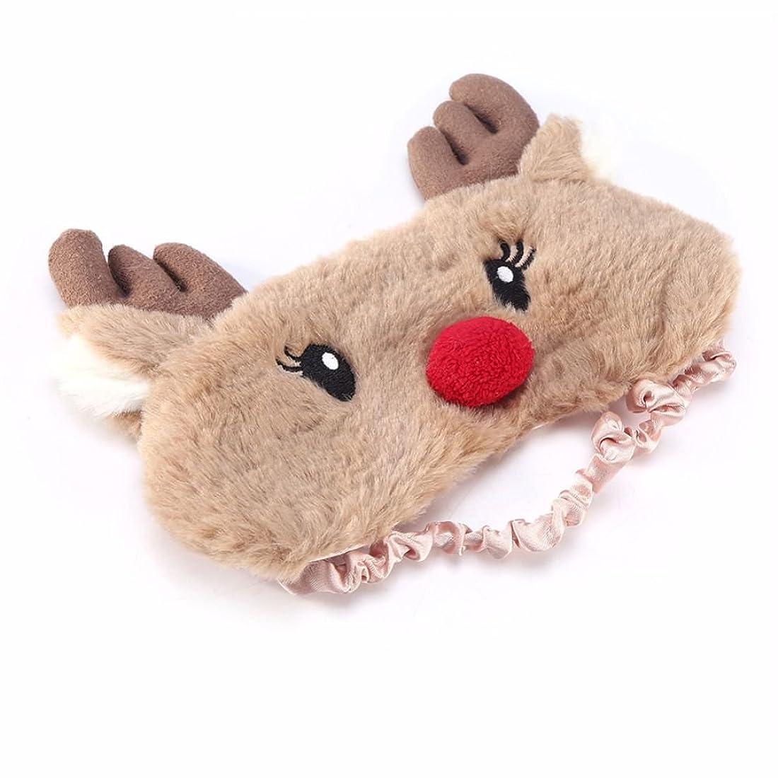 列車机ミニNOTE クリスマス鹿かわいいアニマルアイカバーぬいぐるみ布睡眠マスクアイパッチ冬漫画昼寝アイシェード用クリスマスギフト