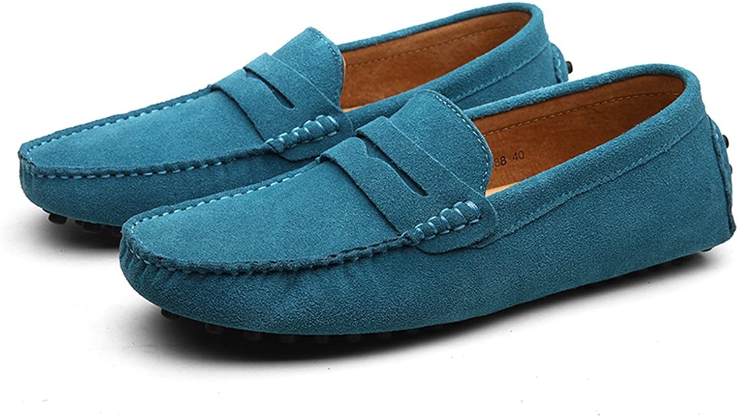 Suzanne vega Men's Suede Penny Loafers Moccasin Driving shoes Slip On Flats Boat shoes