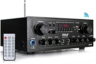Pyle Upgraded Karaoke Bluetooth Channel Home Audio Sound Power Amplifier w/AUX-in, USB, 2..