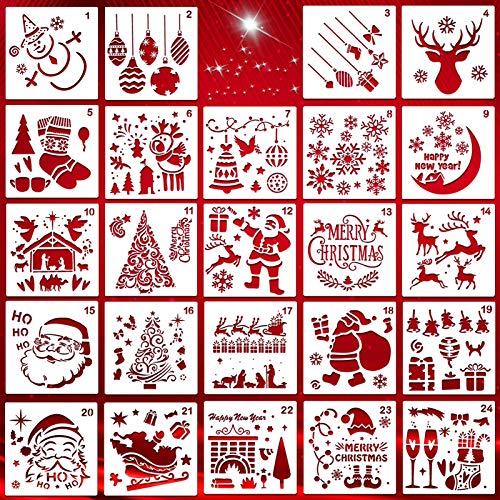 HOWAF 24 Stück Wiederverwendbarer Kunststoff Weihnachts schablonen Zeichnung Malerei Vorlage Set - Weihnachtsmann Weihnachtsbaum Schneeflocken Rentier Schablone für DIY Weihnachtsdekoration