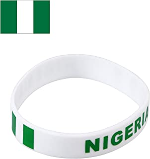TDoperator Nigeria Flag Silicone Bracelet FIFA World Cup 2018 For Soccer Fan Unisex Design Soft and Durable Wristband for National Football Supporters Fans Fashion Sport Wrist Strap Souvenir Gift