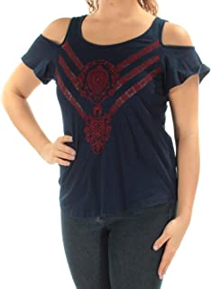 Lucky Brand Women's Short  Embroidered Cold Shoulder Top in Indigo