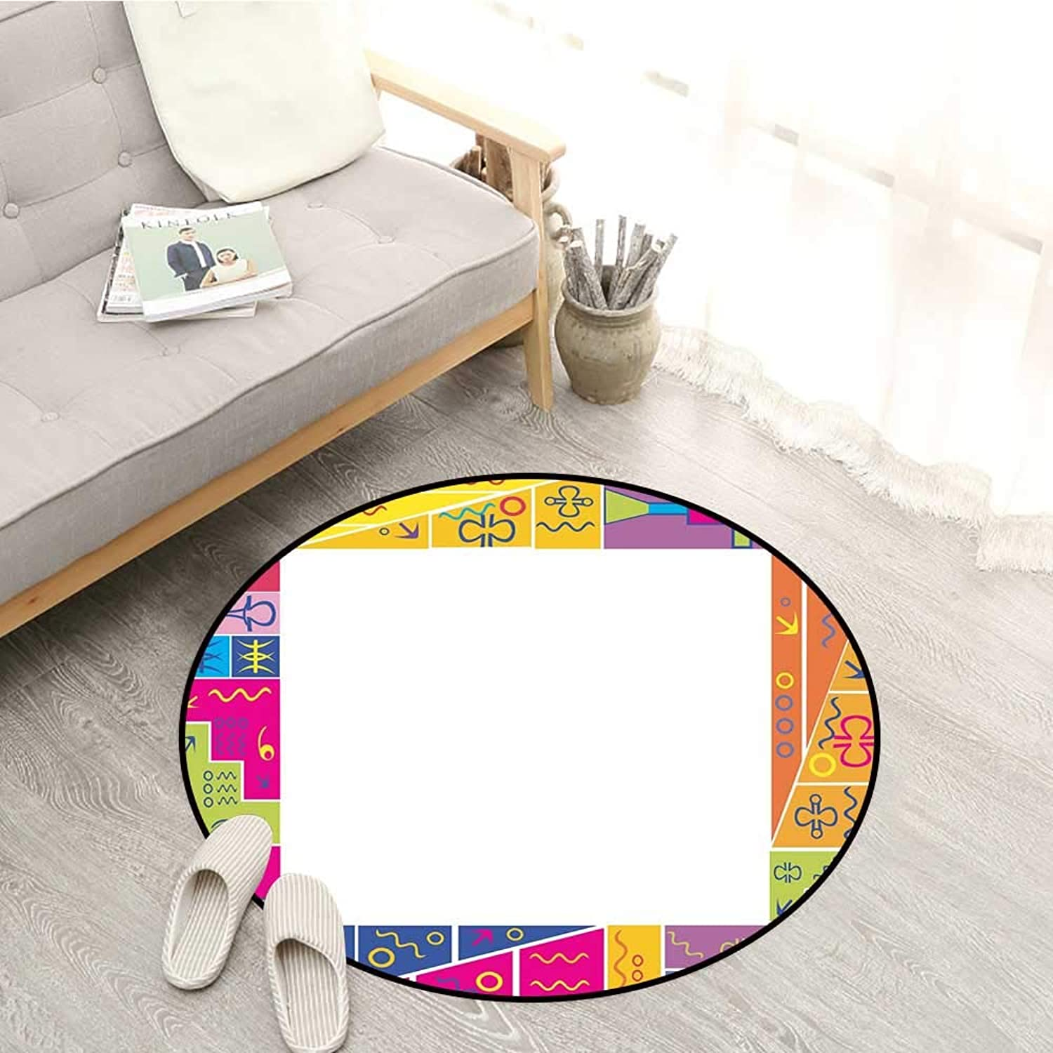 Kids Party Carpets colorful Frame Design with Abstract Fun African Motifs Ethnic Geometric Artistic Sofa Coffee Table Mat 4'7  Multicolor