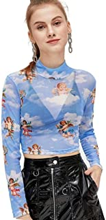 SweatyRocks Women's Long Sleeve Mock Neck Angel Print Sexy Sheer Mesh Crop Top