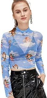 Women's Long Sleeve Mock Neck Angel Print Sexy Sheer Mesh Crop Top
