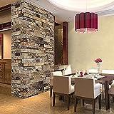 Brick Wallpaper,Modern Faux Brick Stone Textured Wallpaper 3D Embossed Stone Brick Wallpaper for Bedroom Living Room TV Background (32.ft x 1.7ft)