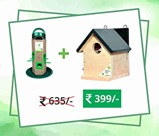 PetNest Combo Bird Feeder, Transparent (1 Pieces) and one Bird House for Sparrow and tit Nestbox Home Shape 6x6.5x7.5 Inch