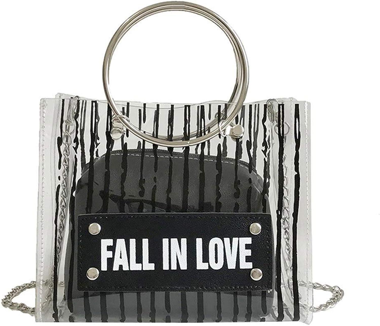 Bloomerang Women Composite Shoulder Bags PVC PU Metal Chain Round Handle Handbag Striped Casual Messenger Bag Best Sale-WT color Black