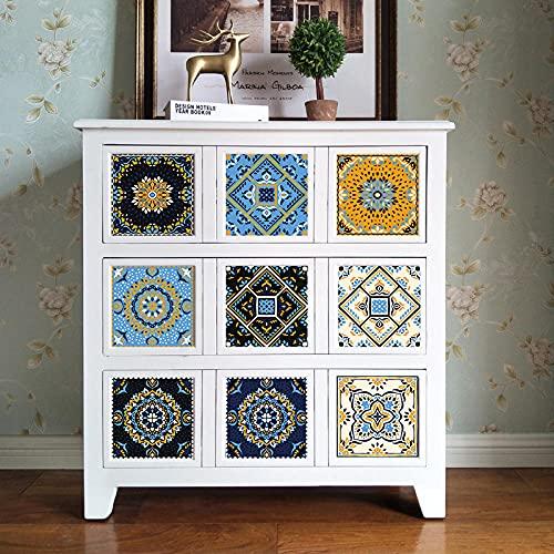 Azulejos Adhesivos Amarillo Geométrico AzulVinilosCocinaAzulejosAntisalpicadurasVinilosBañoAzulejosImpermeableVinilosdeparedDecorativosPinturaparaAzulejosAdhesivodePared 15x15cm