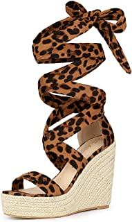 Allegra K Women's Espadrille Platform Wedges Heel Lace Up Sandals