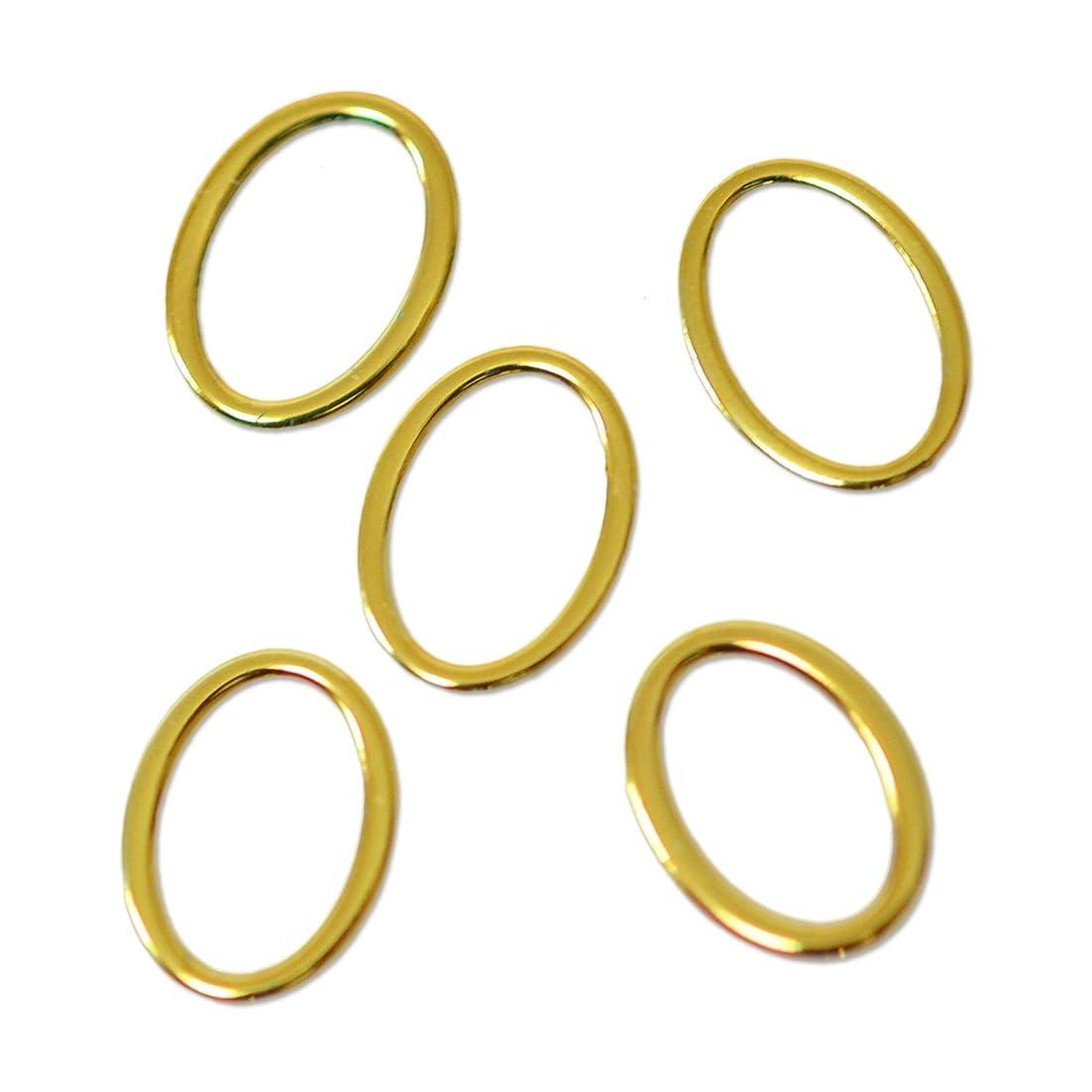 人に関する限り盗難上院薄型メタルパーツ10010 オーバル 楕円形  外寸約4×6mm/内寸約3×5mm ゴールド 20個入り 片面仕上げ