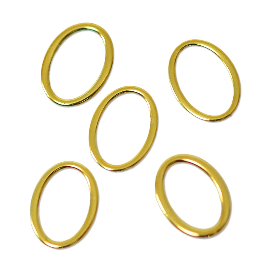 しなやかな伝導上回る薄型メタルパーツ10010 オーバル 楕円形  外寸約4×6mm/内寸約3×5mm ゴールド 20個入り 片面仕上げ