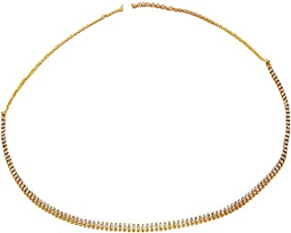 TOWN OF TRINKETS Golden Enamel Double Line Rhinestone Bikini Belly Body Waist Layer Link Chain for Women (36)