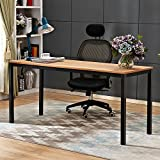 SogesHome 63 inches Computer Desk Office Desk Gaming Desk PC Desk Coner Computer Table Writing Table Workstation, for Home Office Use, Teak and Black, AC3BB-160-SH