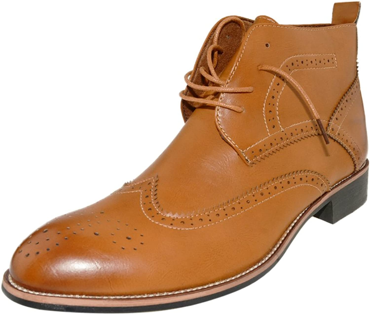 ZLY herrar Winghtip perforerade Lace -up Oxford Ankle stövlar Chukka Martin
