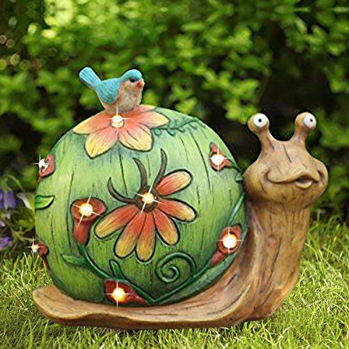 Figura decorativa de caracol solar - Figura con luces solares, Adorno solar para jardin, Césped o decoración del hogar, 25.4 x 21.6 cm, luces navidad exterior