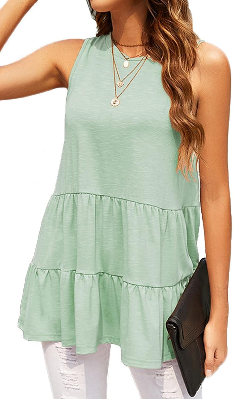 Womens Tank Tops Casual Sleeveless Summer Shirts Loose Flowy Peplum Tops Blouses