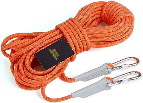 Équipement d'escalade Corde de sauvetage d'urgence de 9,5 mm, corde d'escalade d'extérieur en polypropylène Orange, corde de sauvetage de sécurité avec fil d'acier, bouée de sauvetage anti-usure