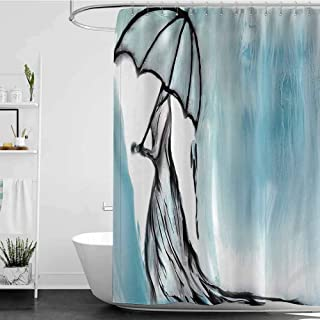 homecoco Shower Curtains Burgundy and White Lake House Decor,Dramatic Lady Woman in Long Dress with an Umbrella in Rainy Weather Day Picture,Blue W48 x L72,Shower Curtain for Men