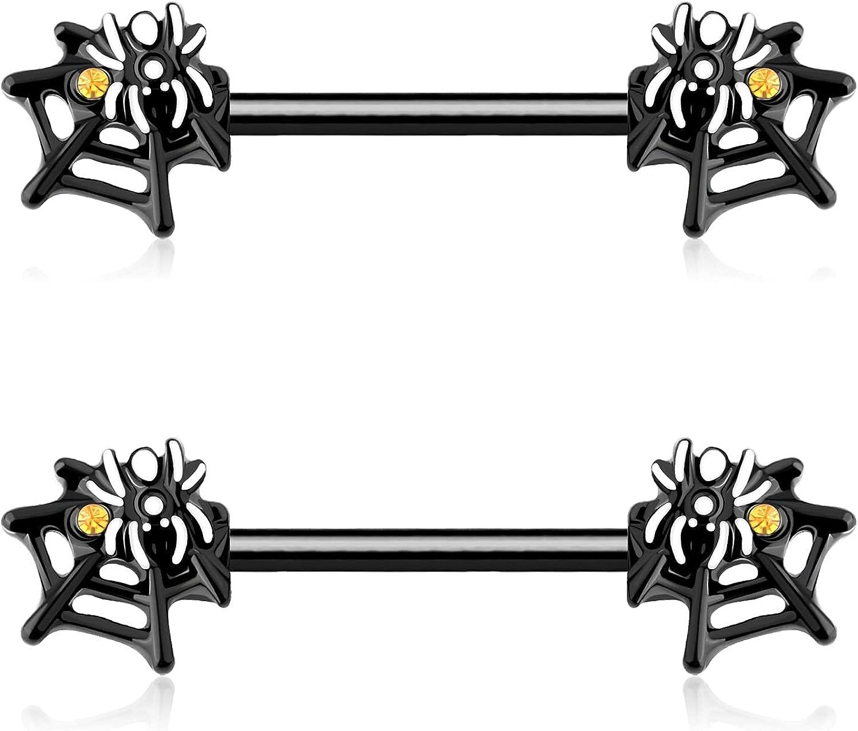 OUFER Nipple Rings 14G 316L Stainless Steel Nipple Barbell Black Spider Web Nipple Piercing Jewelry for Women