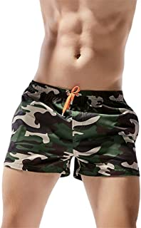 POP-JULU Mens Breathable Swim Swimwear Shorts Slim Wear Flower Loose Elastic Shorts