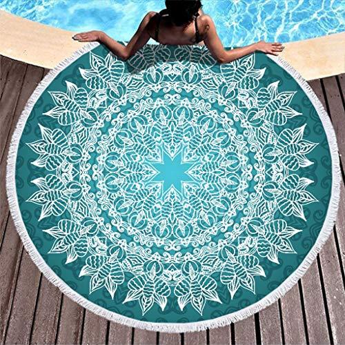 JEFFERS Rond zwemmen Darkcyaan wit mandala Beach Blanket Beach Decor sprei sjaal