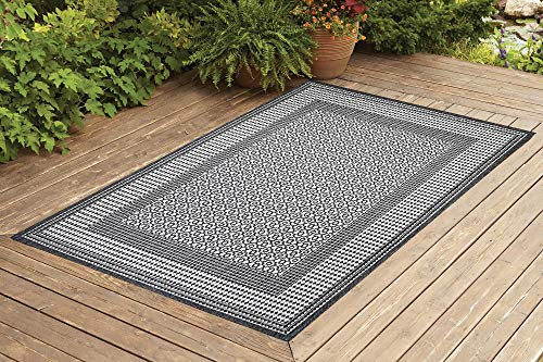Benissimo Indoor Outdoor Rug Tile Collection Non-Skid, Natural Sisal Woven and Jute Backing Area Carpet for Living Room, Bedroom, Kitchen, Entryway, Hallway, Patio, Farmhouse Decor 4x6, Gray