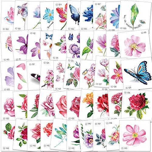Konsait 50Sheet Flower Temporary Tattoos for Women Teens Girls, Tiny Temporary Tattoo Adult Waterproof Body Art Sticker Hand Neck Wrist, include Flower Butterfly Leaf Lotus Cherry Blossoms Tattoo