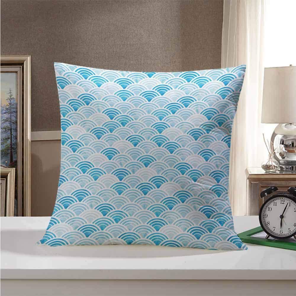 Zwarrt Throw Pillow Cushion Cover Watercolor Ocean Waves Inspired Curves In Aquatic Colors Circles Geometric Pattern Blue Baby Blue 20 X20 Fit All Season Buy Online In Aruba At Aruba Desertcart Com Productid 192429506