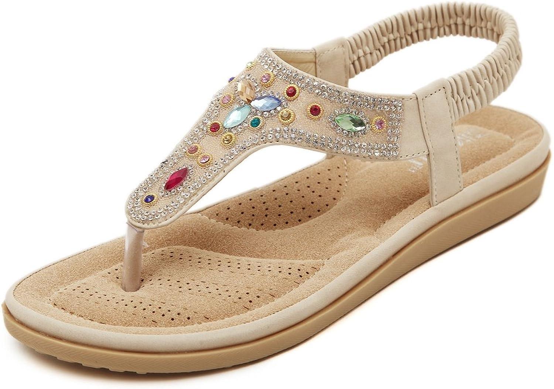 Girls Fashion Bohemian Diamond Flat Flip Flops Thongs Slip on Comfy Dress Walking Sandals for Women