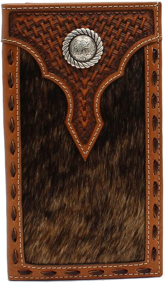 ARIAT Rodeo Basket Weave Calf Hair Concho Brown Wallet