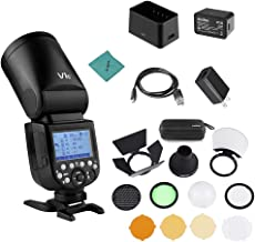 Godox V1C Camera Flash Speedlite Speedlight Round Head Compatible with Canon EOS Series 1500D 3000D 5D Mark LLL 5D Mark ll for Wedding Portrait Studio Photography + Godox AK-R1 Pocket Flash Light Acce