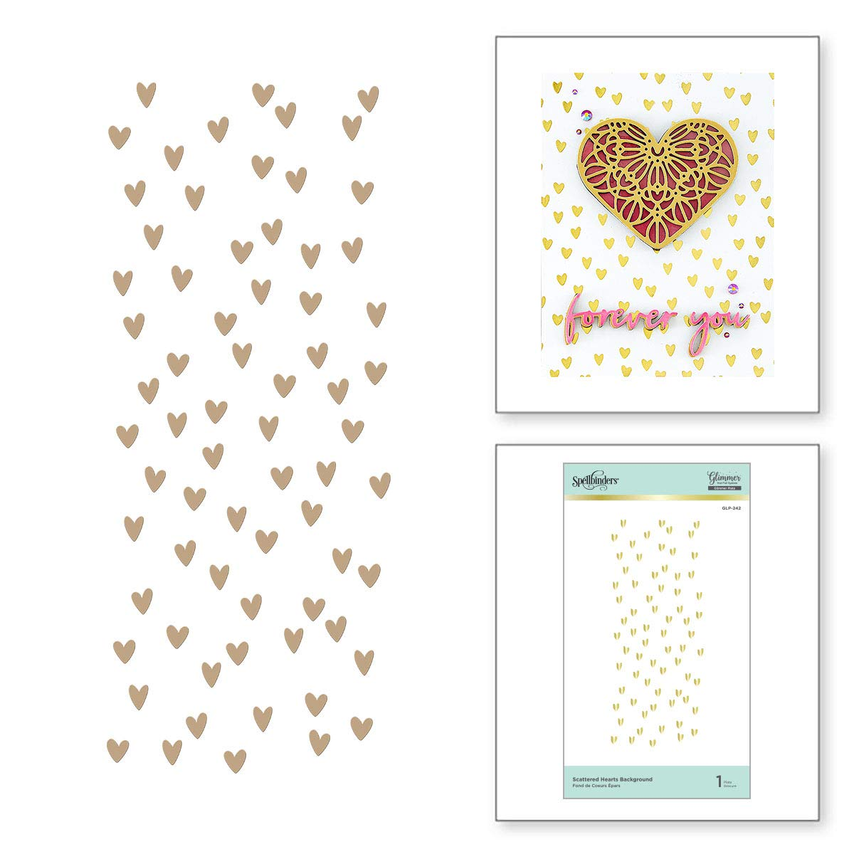 Spellbinders Scattered Hearts Background Glimmer Hot Foil Plate Set Metal