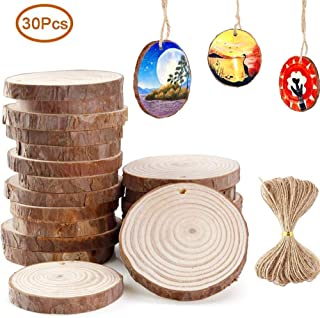 Shirylzee Natural Wood Slices Crafts 10m/33ft Jute Twine Creative Handmade pine slice Ornaments DIY Crafts for Wedding Christmas Home Hanging Decorations 30 pieces