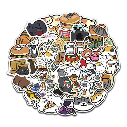 WUWEI Cuenta de Mano de Dibujos Animados Lindo Gato Chica Impermeable portátil Maleta monopatín papelería Pegatina 50 Uds