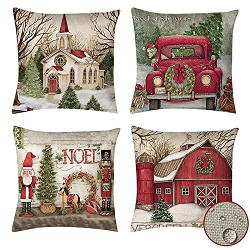 vigvog Waterproof Christmas Cushion Covers, Grid Pillow...