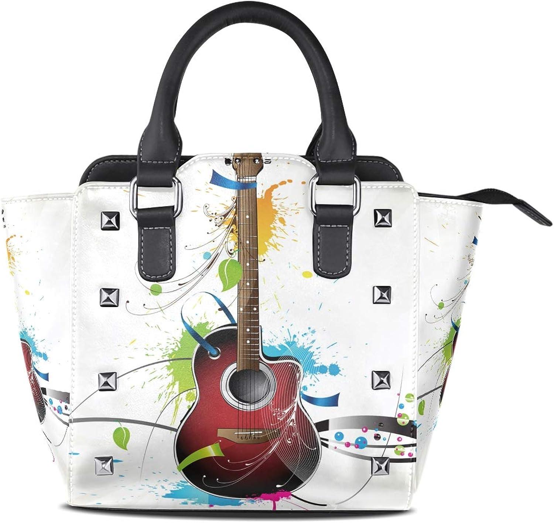 Leather Guitar Pattern Sugar Skull Rivet Handbags Tote Bag Shoulder Satchel for Women Girls