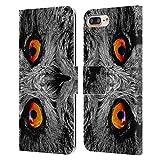 Head Case Designs Licenciado Oficialmente Catspaws Orange Eye Owl Animales 2 Carcasa de Cuero Tipo Libro Compatible con Apple iPhone 7 Plus/iPhone 8 Plus