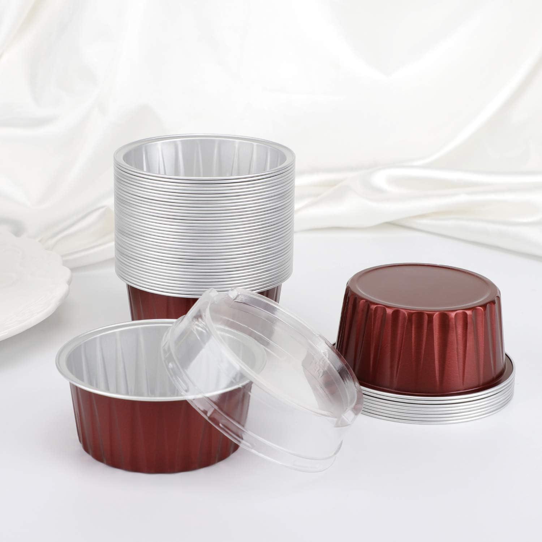 Cupcake Crisp Pie Ramekin Recyclable Catering Wedding Party Favor Baking Cups-Emerald Green 3.34x2.59x2.35 Snacks Desserts Flan Aluminum Foil Cups Eusoar 5 oz 50pcs Baking Cups with Lids