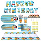Pikachu Party Supplies 83 pcs Birthday Decorations for 10 Guest, Happy Birthday Banner, Tablecover, Plates, Napkins,Cups
