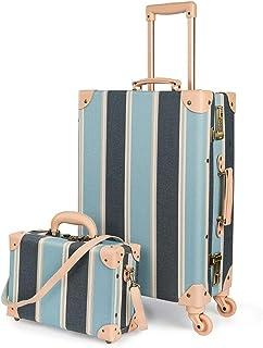 "COTRUNKAGE Cute Travel Luggage Set 2 Pcs Trunk Case Vintage Women Suitcase with TSA Lock (13"" & 24"", Sky Blue)"