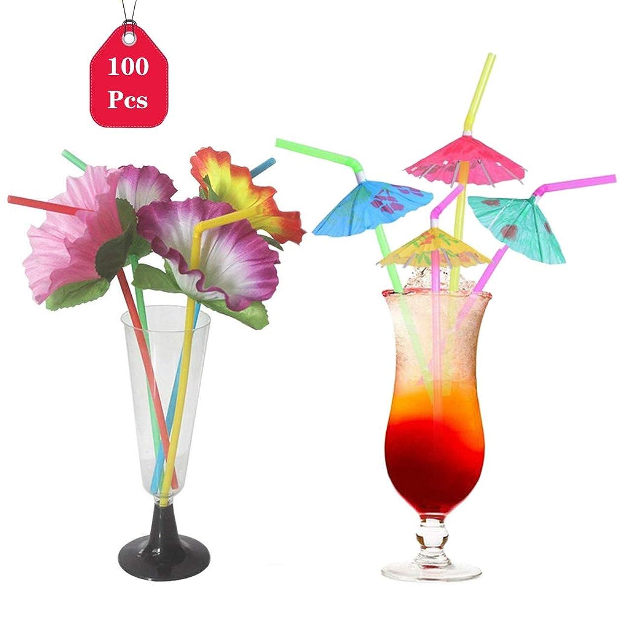 プーノ吸収めるTumao ストロー 使い捨て カラフル 100本入り カラフル傘 薔薇 造型 パーティー 誕生日 結婚式 バー用品 特別なデザイン 装飾 ピクニック 喫茶店 飲み物用