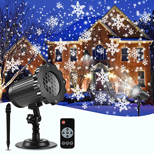 Snowflake Christmas Projector Lights Outdoor, ECOWHO Rotating Snowfall LED Projector Lights Waterproof with Remote Dynamic Falling Snow Effect for Xmas,Garden,Halloween,Wedding,Landscape Decorative