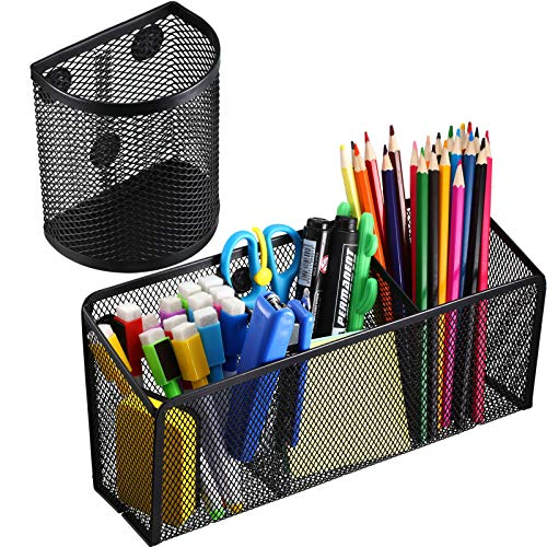 Magnetic Pencil Holder Magnetic Storage Basket with 3 Generous Compartments Organizer and Semi-Circular Magnetic Mesh Pen Cups for Whiteboard, Locker Accessories (2)