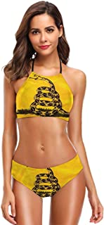 Gadsden Flag Women's Two Pieces Bikini Set Halter Swimsuits Bathing Suit Swimwear Soft Cup