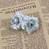 VORCOOL 50 Stück Kunstblumen Rosenköpfe Stoffrosen Deko-Blüte (Silber) - 5