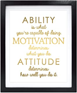Susie Arts 8X10 Unframed Inspirational Attitude Real Gold Foil Art Print Quotes Wall Poster Home Decor Motivational Art V165