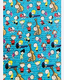 Teal Charlie Brown and The Peanuts Gang Merry Christmas Holiday Gift Wrapping Paper with Gridlines 60 sq ft 1 Roll (Bonus: FF Card Games - Great Stocking Stuffer)
